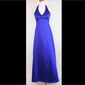 DAVID'S BRIDAL Royal blue halter formal dress gown
